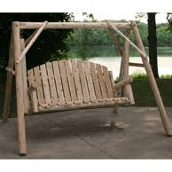 log porch swings and outdoor swings for the garden