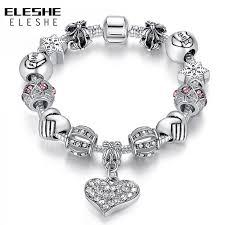 charm bracelet for eleshe luxury brand women bracelet 925 unique silver charm