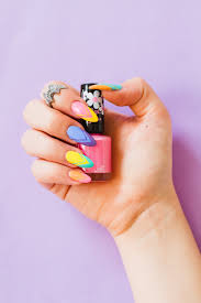 bright and colourful geometric nail tutorial bespoke bride