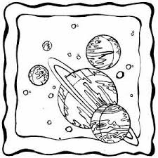 set of planets on frame coloring page