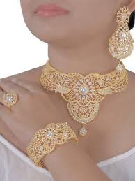 zircon necklace set images Gold plated choker cubic zircon necklace set rs 4100 piece id jpg