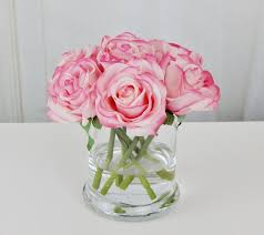 pink blush rose roses glass vase faux water acrylic