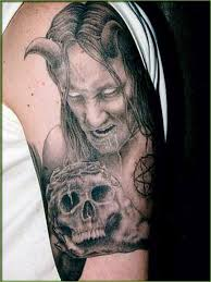 horror with skull on arm cool tattoos
