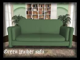 Green Leather Sofa by Second Life Marketplace Sculpted Green Leather Sofa Dollarbie