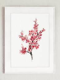 Japanese Flowers Pictures - cherry blossom flower watercolor painting pink gifts for her