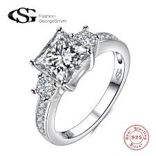 rings with square images Wedding rings s925 silver rings square big diamond stone ladies jpg