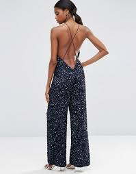 backless jumpsuit asos asos backless jumpsuit with all sequins