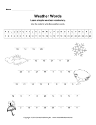 weather words u2014 instant worksheets
