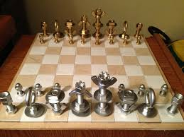 how to make a macgyver style chess set using just nuts u0026 bolts