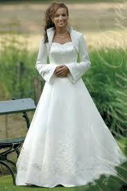 wedding dress jacket sweetheart satin a line embroidery modest wedding dress with