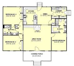 Rectangular House Plans by Southern Style House Plan 3 Beds 2 Baths 1700 Sq Ft Plan 44 104
