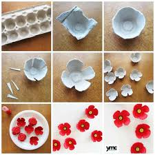 3 beautiful handcrafted poppies for remembrance day egg cartons