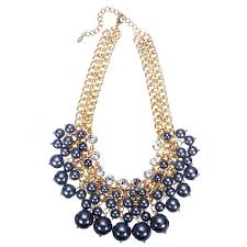 crystal collar statement necklace images Multilayer pearl bead crystal collar necklace gold plated chain jpg