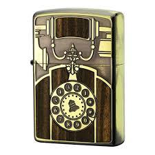 zippo design zippo lighter antique telephone design bs gold brass wood inlay