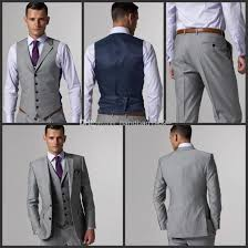 light gray vested suit custom made side slit two buttons light grey groom tuxedos notch