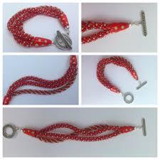 red multi strand kumihimo bracelet prumihimo