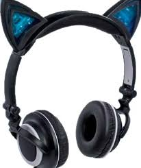 light up cat headphones tech electronic feline cat ear light up premium folding headphones