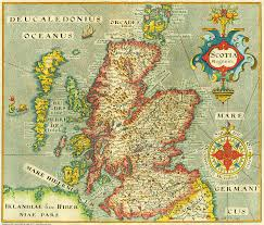 Vintage Maps Old Vintage Map Of Scotland In 1637 Reproduction Of A Map By