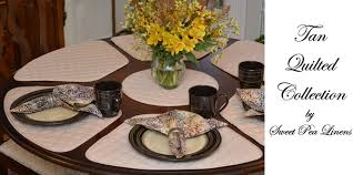 quilted placemats for round tables sweet pea linens tan solid quilted placemats for round tables come