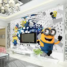chambre kid 3d minions photo papier peint de bande dessinée despicable me wall