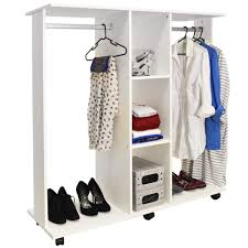 mobile double open wardrobe clothes hanging rail white
