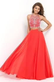 loving dresses 2015 halter two pieces a line prom dress with flowing chiffon