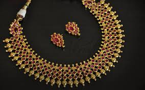gold necklace ruby images Jewellery designs designer gold ruby necklace set jpg