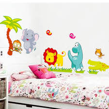 big jungle animals bridge vinyl wall stickers kids bedroom