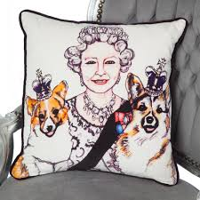 queen u0026 corgis cushion in collaboration with artist sam parr the