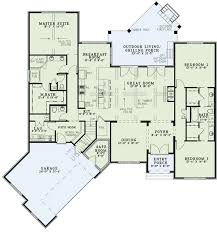Level Floor Split Bedroom Home Plan With Angled Garage 60617nd