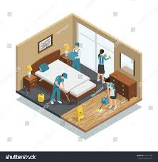 house and floor plans house cleaning isometric composition professional workers stock