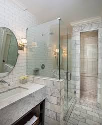 Marble Subway Tile Bathroom Magnificent Marble Subway Tile With Modern Farmhouse White Cabinets