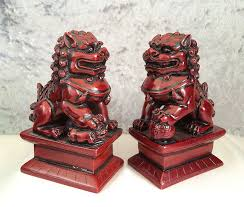japanese guard dog statues true pair black rosewood foo dog guardian lion statues