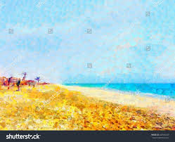 vibrant oil painting summer beach on stock ilration 448925440 shutterstock
