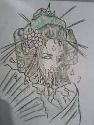 dead geisha tattoo sketch photos pictures and sketches