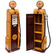 pompe a essence deco modèle rétro pompe à essence jaune réplique fidèle avec horloge