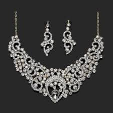 wedding necklace bridal images Bridal wedding jewelry sets rhinestone filigree bride jewelry gold jpg