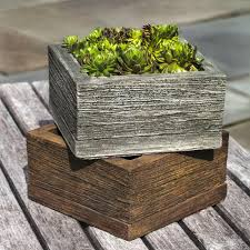 stone barn board small square garden planter
