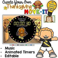 editable move it thanksgiving brain breaks by the primary techie