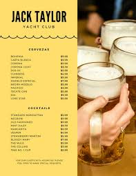 yellow and beer photo drink menu templates by canva