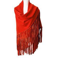 plaid en cachemire foulard cachemire avec franges en cuir dagneau hermes orange jpg