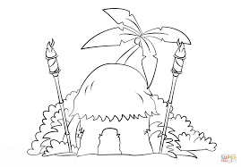 tiki hut with torches coloring page free printable coloring pages