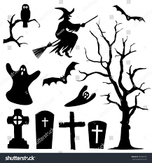 Halloween Bat Silhouette Halloween Silhouette Collection Set Black Shapes Stock Vector
