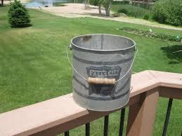 falls city metal minnow bucket galvanized wood handle vintage