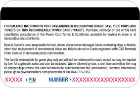 photo card dave buster s power up your power card