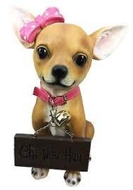 dog ribbon pink ribbon chihuahua dog large figurine w welcome sign