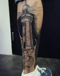 lighthouse back of leg calf mens lighthouse tattoo design ideas
