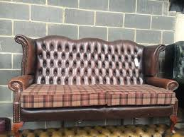 Tartan Chesterfield Sofa Brown Leather Chesterfield High Back Sofa With Tartan Cushions