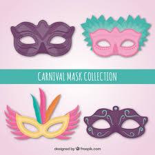 set of carnival ornamental masks vector free
