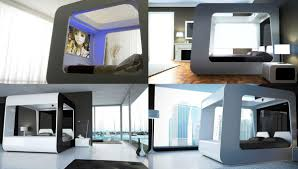 futuristic design led tv room bedroom white double bed can